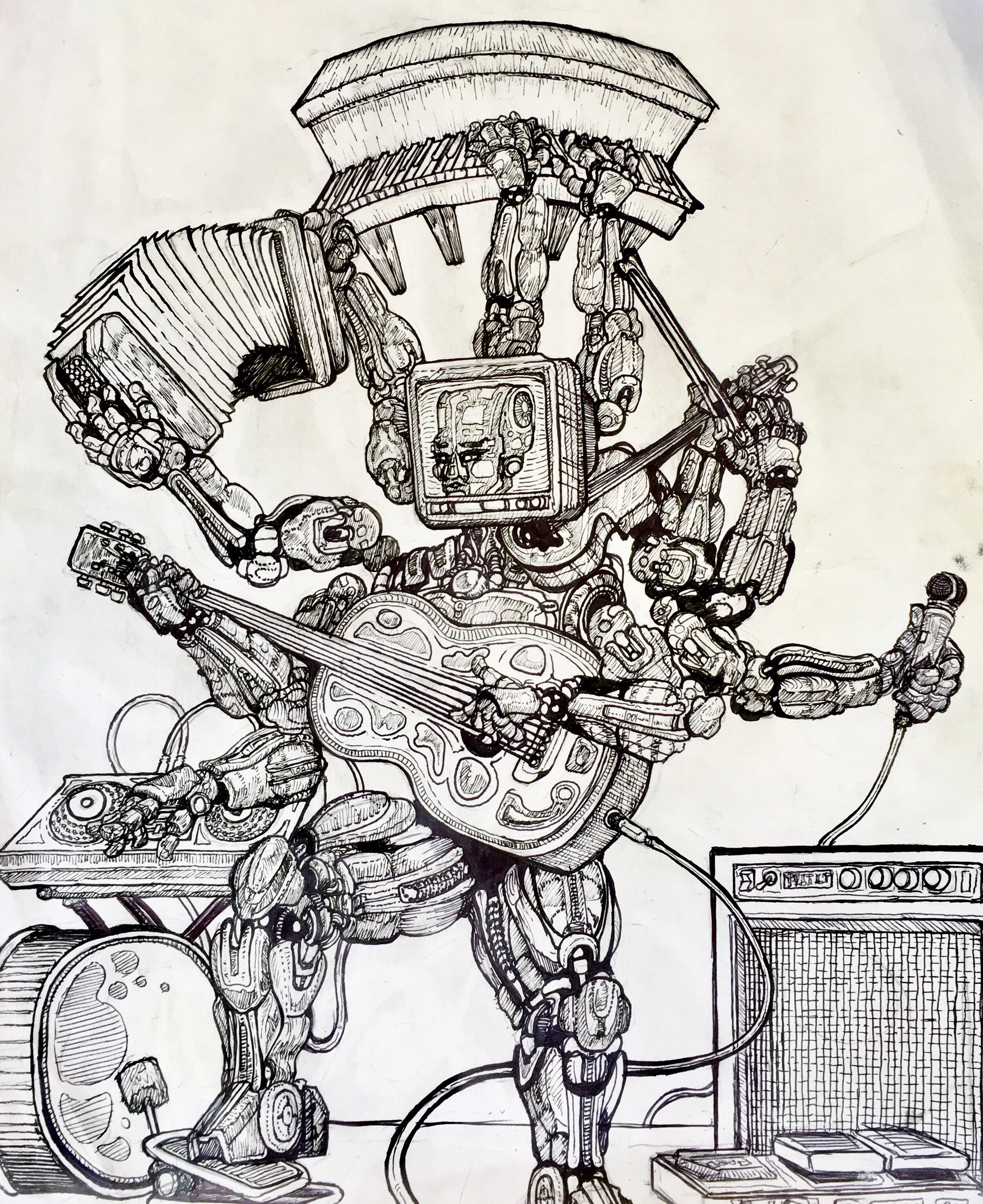 robot made out of various musical instruments