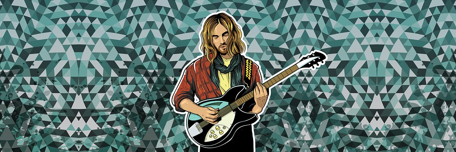 "alt=""Geometric artwork of long haired musician playing guitar"""