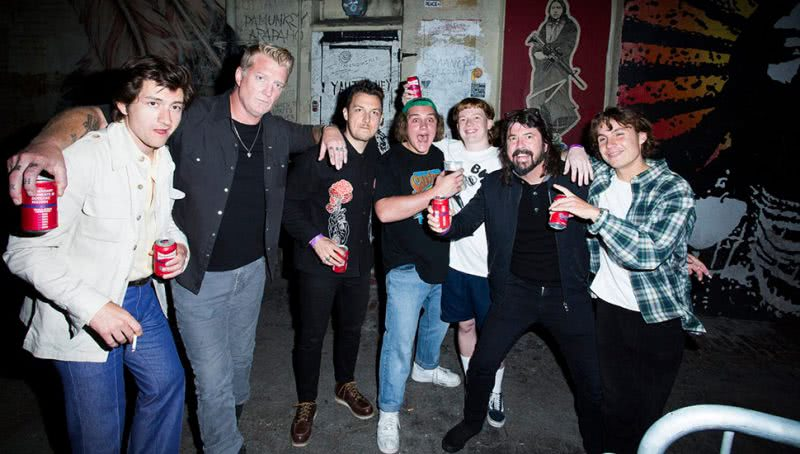 "alt=""The Chats band at concert with Dave Grohl"""