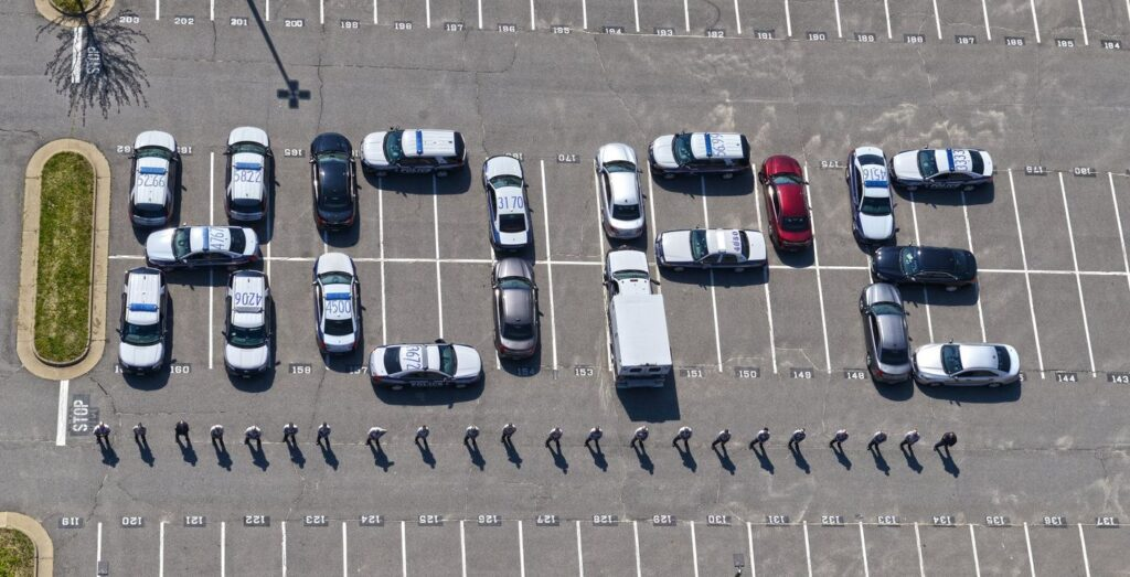 cars lining up in the word hope
