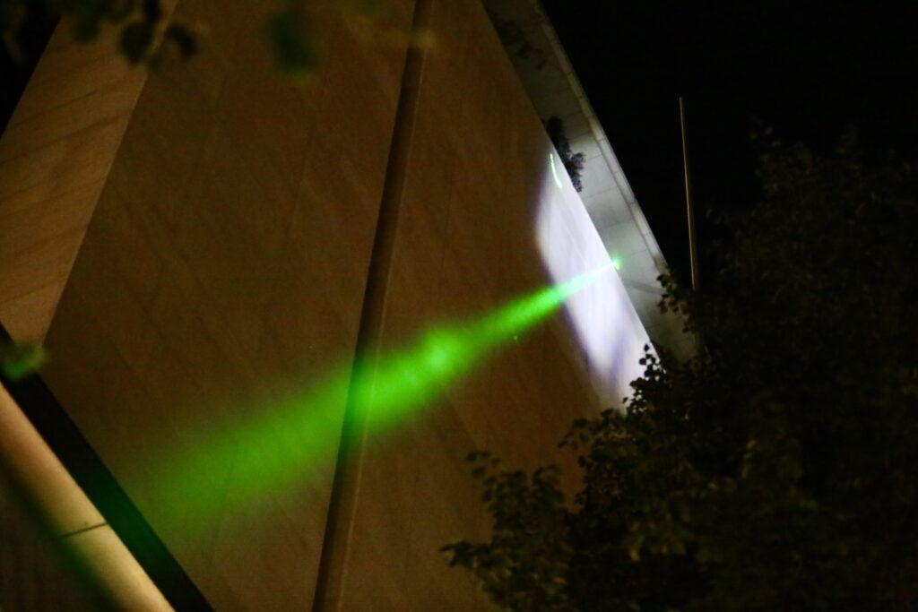 """alt=""""Laser from Federal Building Portland"""""""