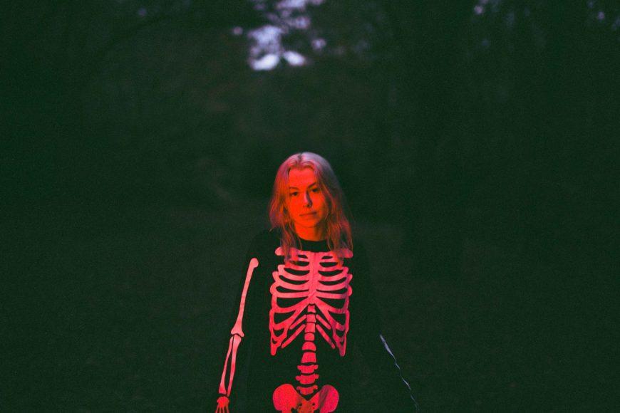 "Alt=""Phoebe Bridgers in Skeleton Costume"""